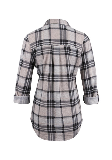 Ladies' Knit Popover Plaid Shirt, PEACH, hi-res