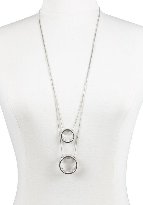 Ladies' Double Ring Necklace, RHODIUM, hi-res