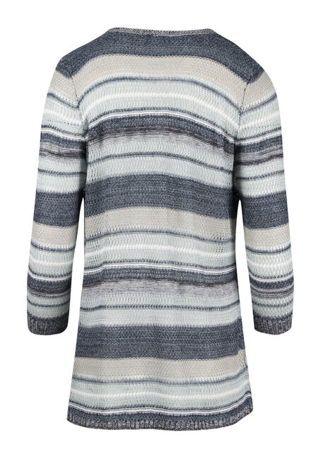Ladies' Multi Stripe Cardigan, BLUE, hi-res