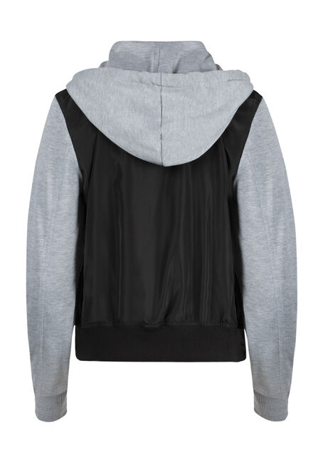 Ladies' Hooded Bomber Jacket, BLACK, hi-res