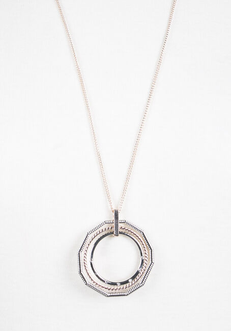 Ladies' Trio Geo Necklace, MIXED METALS, hi-res