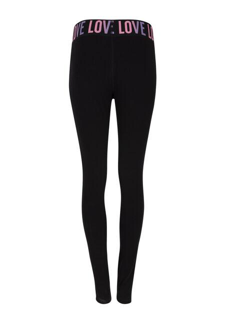 Ladies' Love Elastic Waistband Legging, BLACK, hi-res