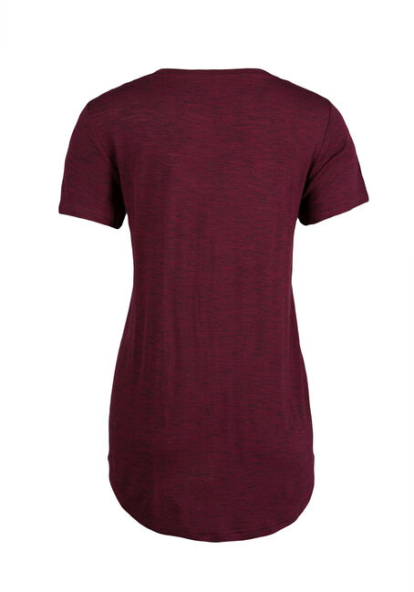 Ladies' Relaxed V-Neck Tee, WINE, hi-res