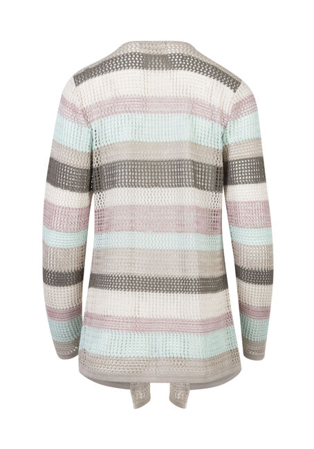 Ladies' Mesh Stripe Open Cardigan, MULTI, hi-res