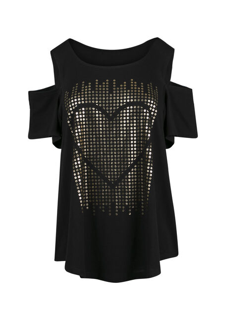 Ladies' Foil Heart Cold Shoulder Top