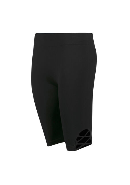 Ladies' Lattice Side Bermuda Short, BLACK, hi-res