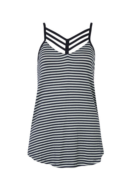 Ladies' Cage Neck Tank, NAVY INK/SKY BLUE, hi-res