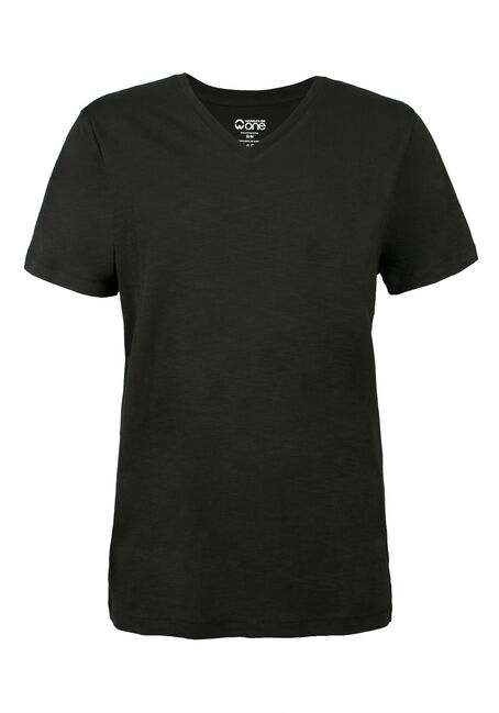 Men's V-neck Slub Tee, BLACK, hi-res