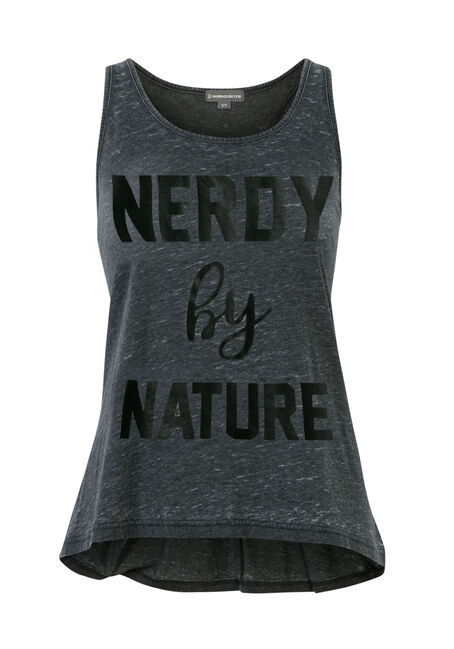 Ladies' Nerdy By Nature Tank, BLACK, hi-res