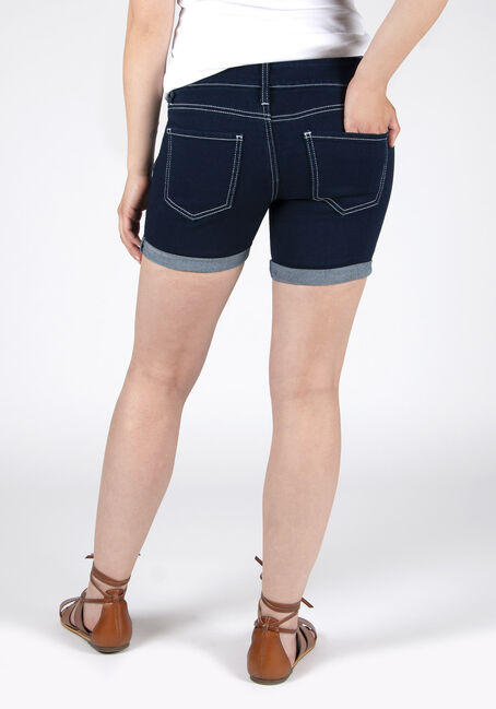 Ladies' Stacked Button Curvy Short, DARK WASH, hi-res