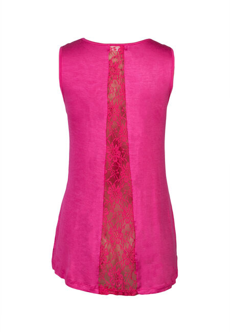 Ladies' Lace Insert Tank, FUCHSIA, hi-res