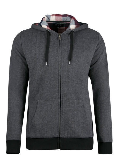 Men's Flannel Plaid Lined Hoodie, CHARCOAL, hi-res