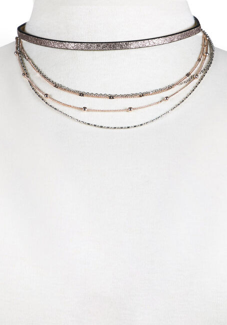 Ladies' 5 Row Layered Choker Necklace, GOLD, hi-res