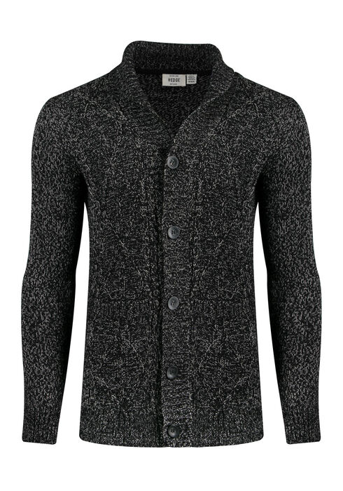 Men's Shawl Collar Cardigan, BLACK, hi-res