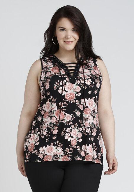 Ladies' Floral Lace Up Tank, BLACK, hi-res