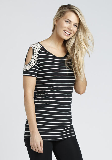 Ladies' Cold Shoulder Tunic Tee, BLK/WHT, hi-res