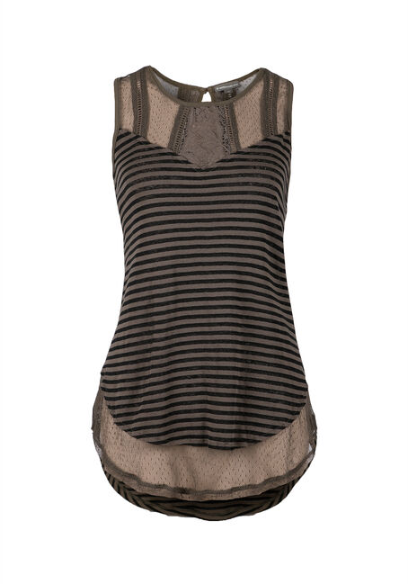 Ladies' Hi-Low Stripe Tank, MILITARY, hi-res