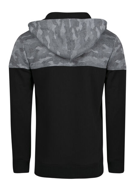 Men's Camo Colour Block Hoodie, BLACK, hi-res