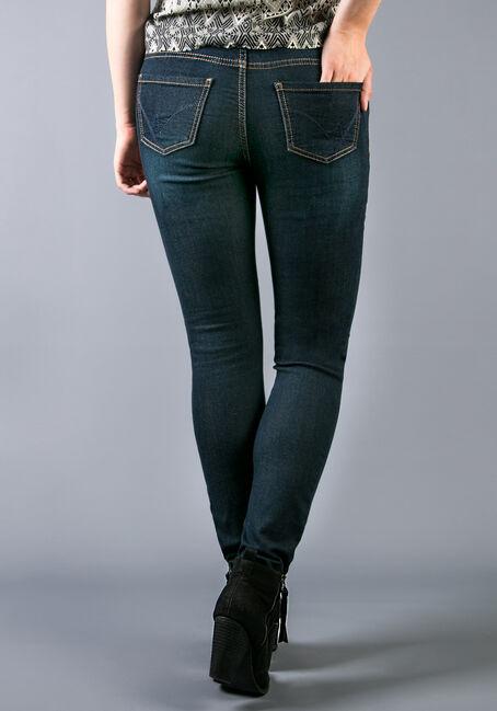 Ladies' Knit Skinny Dark Jeans, DARK VINTAGE WASH, hi-res