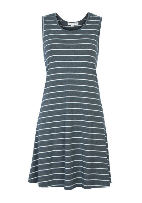 Ladies' Stripe Racerback Dress, MEDIUM VINTAGE WASH, hi-res