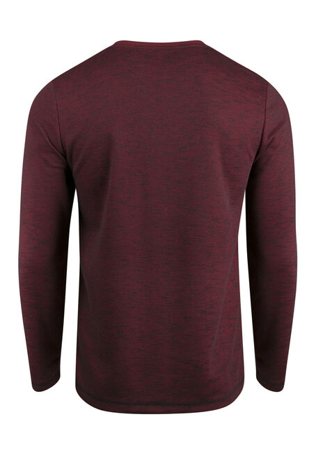 Men's Crew Neck Rib Knit Top, RED, hi-res