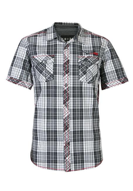 Men's Plaid Shirt, WHITE, hi-res