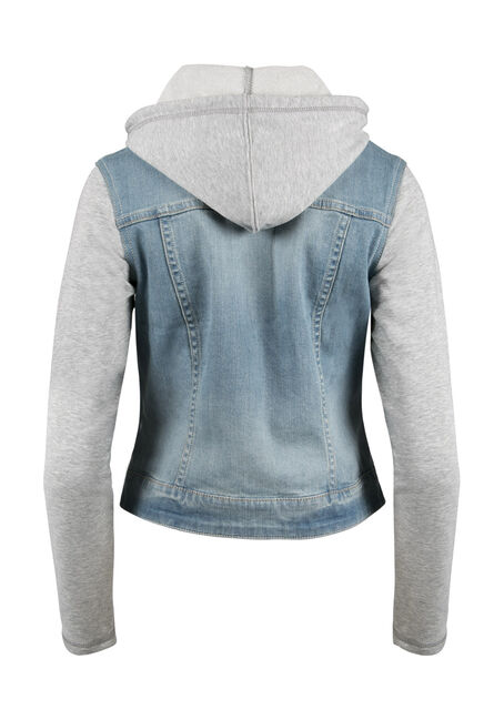 Ladies' Knit Sleeve Jean Jacket, LIGHT WASH, hi-res