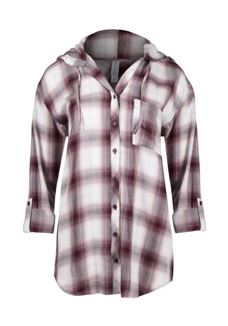 Ladies' Hooded Plaid Boyfriend Shirt