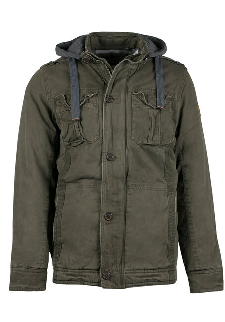Men's Utility Parka, DARK OLIVE, hi-res