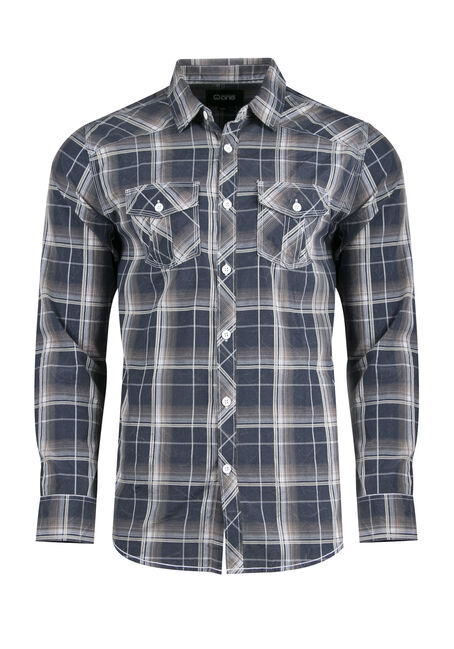 Men's Acid Wash Plaid Shirt, BLUE, hi-res