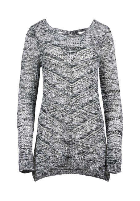 Ladies' Pointelle Cross Back Sweater, BLK/WHT, hi-res