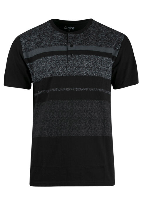 Men's Stripe Henley Tee, BLACK, hi-res