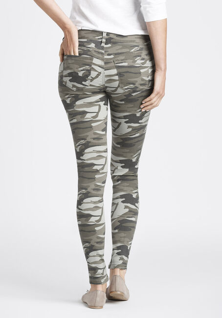 Ladies Camo Skinny Pants, LIGHT OLIVE, hi-res