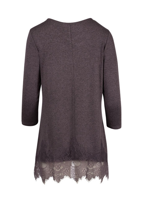 Ladies' Cage Neck Lace Tunic Top, DK PURPLE, hi-res