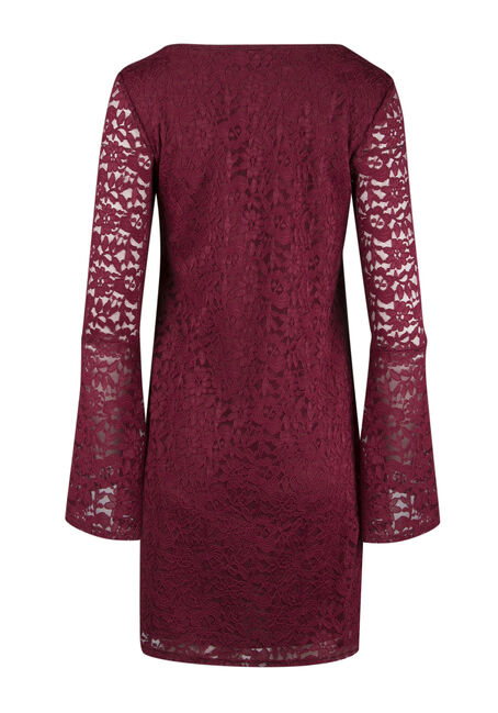 Ladies' Lace Bell Sleeve Dress, BURGUNDY, hi-res