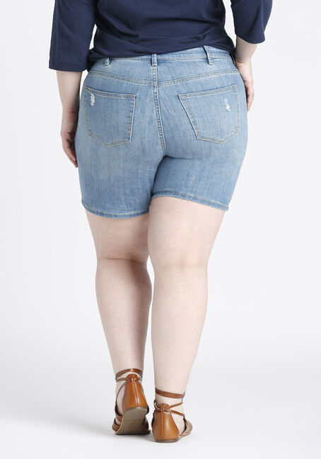 Ladies' Plus Size Mid Length Short, LIGHT WASH, hi-res