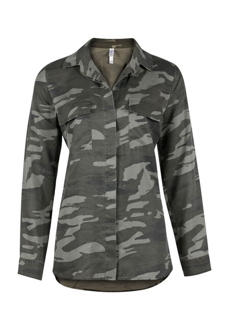 Ladies' Camo Utility Shirt, MILITARY, hi-res