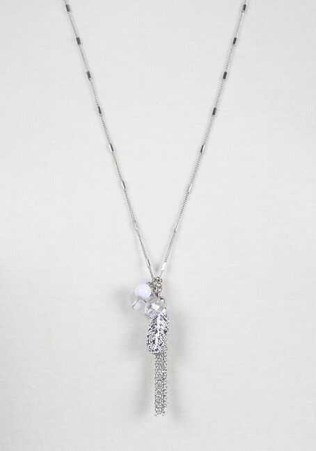Ladies' Tassel Charm Cluster Necklace, RHODIUM, hi-res