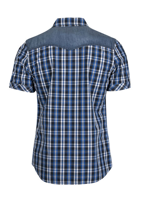Men's Western Plaid Shirt, BRIGHT BLUE, hi-res