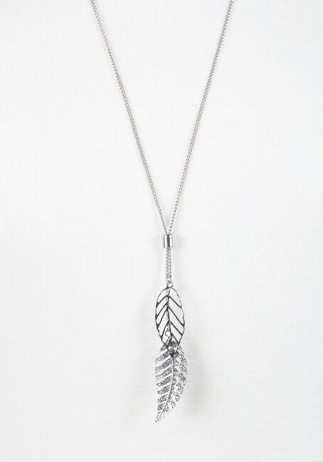 Ladies' Lariat Necklace, RHODIUM, hi-res