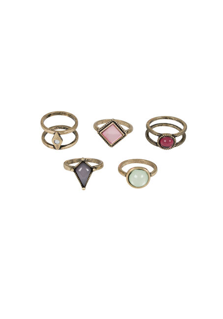 Ladies' 5 Pair Ring Set, GOLD, hi-res