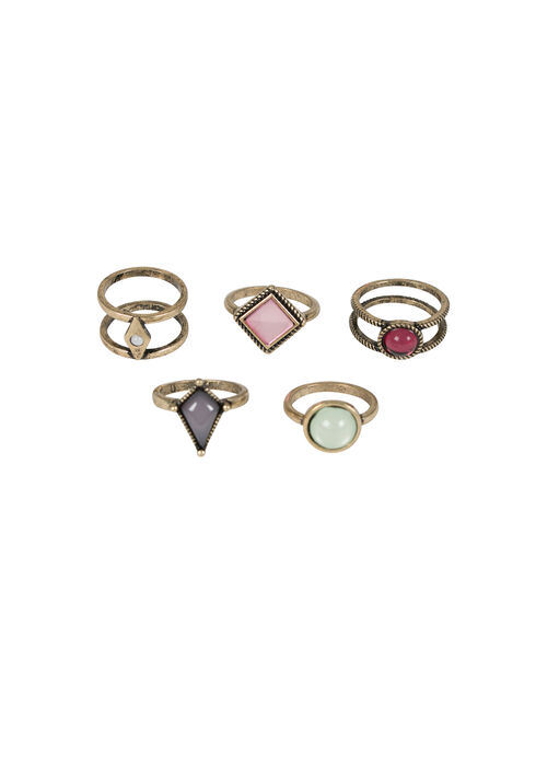 Ladies' 5 Pair Ring Set, GOLD, hi-res