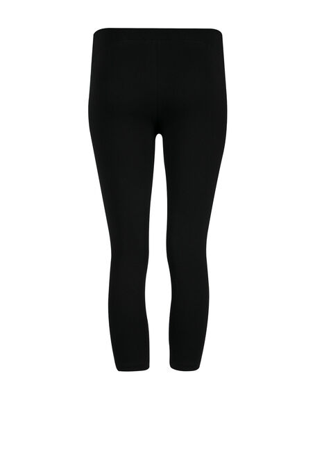 Ladies' Wide Waist Capri Legging, BLACK, hi-res