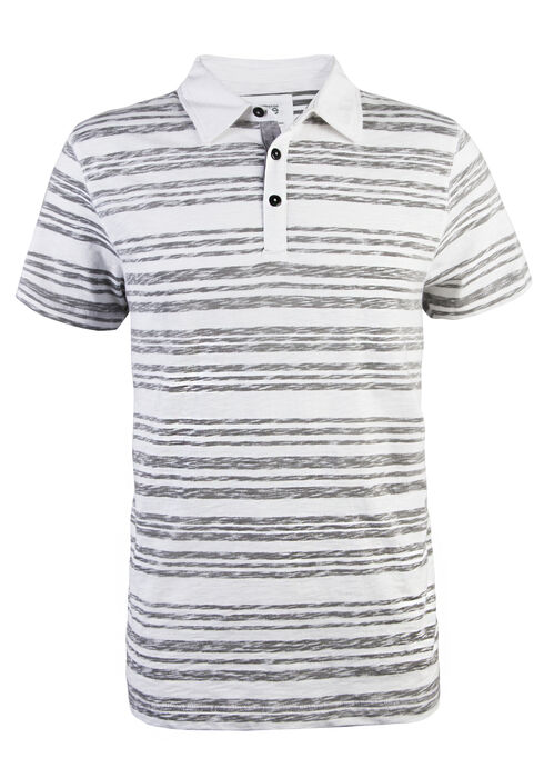 Men's Short Sleeve Reverse Printed Polo, WHITE, hi-res