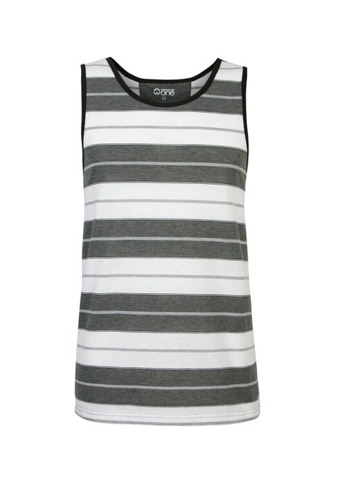 Men's Textured Stripe Tank, WHITE, hi-res