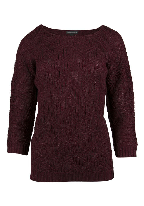 Ladies' Shimmer Sweater, WINE, hi-res