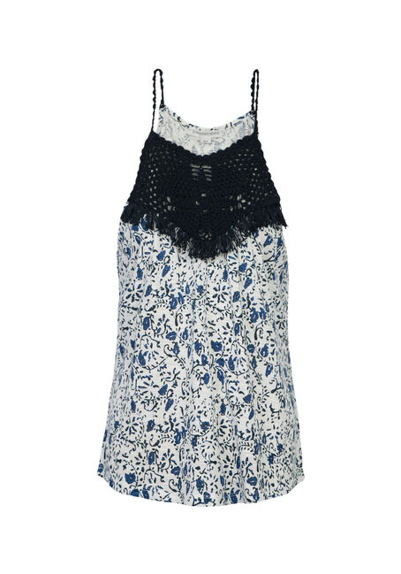 Ladies' Floral Crochet Yoke Tank, COASTAL BLUE, hi-res