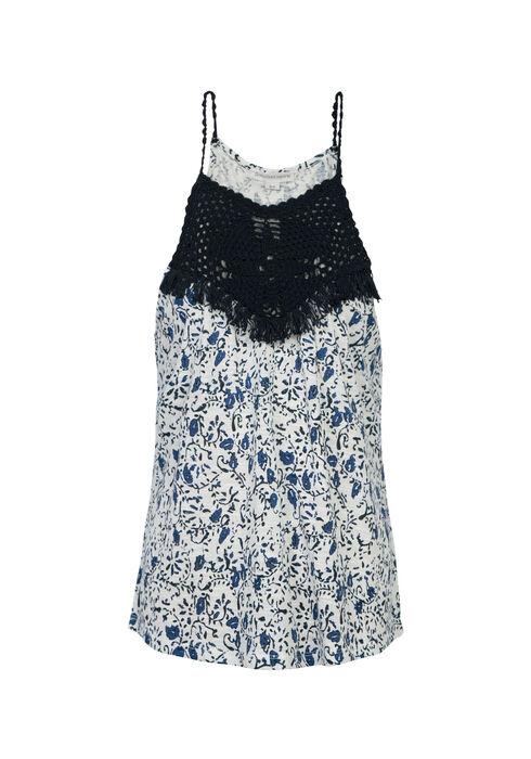 Ladies' Floral Crochet Yoke Tank, COASTAL BLUE, hi-res