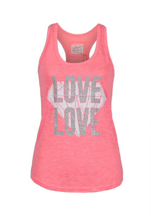 Ladies' Love Diamond Racerback Tank, NEON PINK, hi-res
