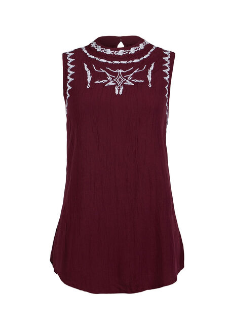 Ladies' Embroidered Crinkle Tank, WINE, hi-res